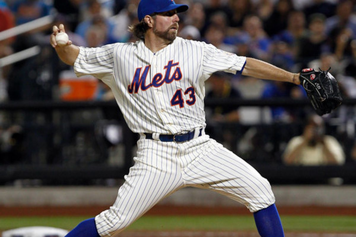 June 24, 2012; Flushing, NY, USA; New York Mets starting pitcher R.A. Dickey (43) pitches against the New York Yankees during the fourth inning against the New York Yankees at Citi Field. Mandatory Credit: Debby Wong-US PRESSWIRE