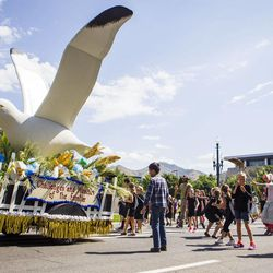 The Salt Lake Big Cottonwood Stake float is pictured during the Days of '47 Union Pacific Railroad Youth Parade held Saturday, July 18, 2015, in Salt Lake City.