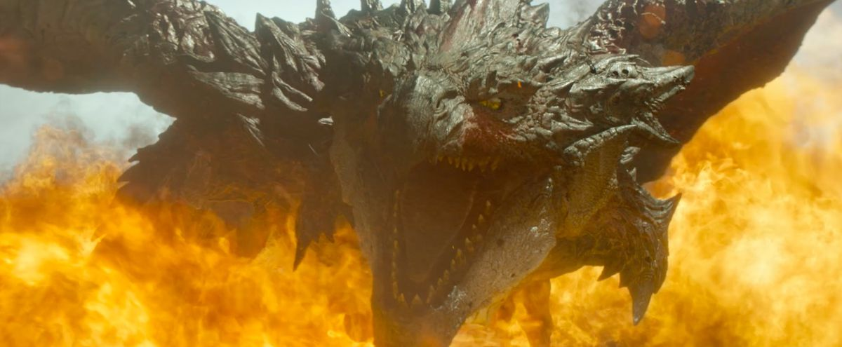 greater rathalos breathing fire in the monster hunter movie
