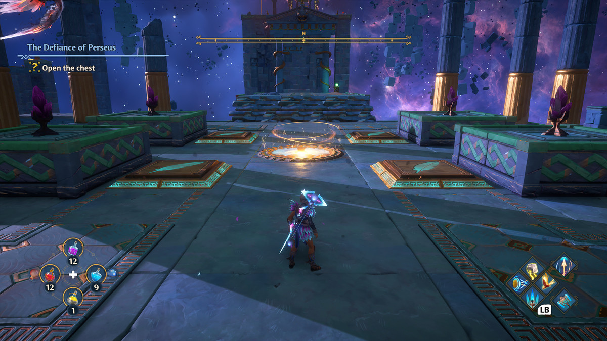 A puzzle solution in the Defiance of Perseus Vault of Tartaros in Immortals Fenyx Rising