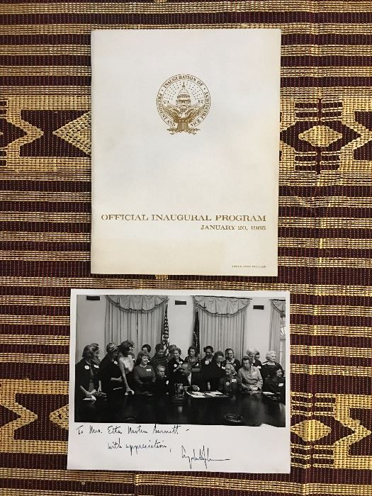 An official program from the Jan. 20, 1965,  inauguration of President Lyndon B. Johnson, and a photo of Etta Moten Barnett with President Johnson, signed by Johnson, is among artificats available in the Claude Barnett and Etta Moten Barnett estate sale being handled by Estate Sale Goddess.