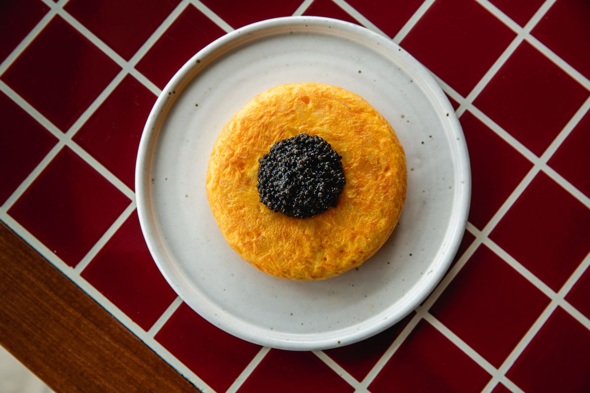 Tortilla caviar at Decimo, the new King's Cross restaurant by chef Peter Sanchez Iglesias at The Standard Hotel London