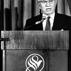 Shortly before the closure, President Gordon B. Hinckley, first counselor in the First Presidency of the The Church of Jesus Christ of Ladder-day Saints, which owns the hotel, delivered a statement from the Empire Room.