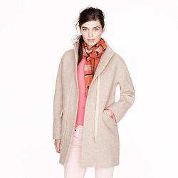 "<a href=""http://www.jcrew.com/womens_category/outerwear/wool/PRDOVR~18593/18593.jsp"">Stadium-cloth cocoon coat</a>, $227.50 (was $325)"