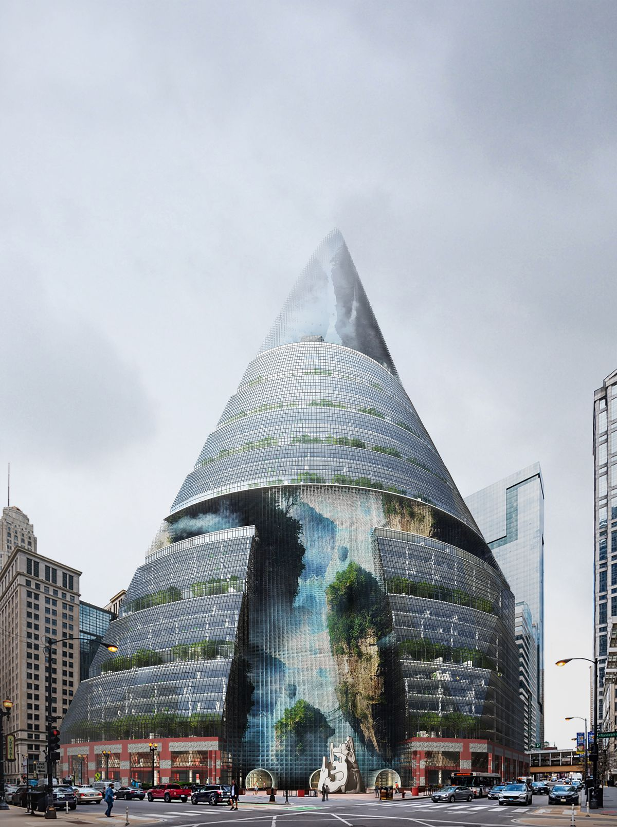 """The """"Thompson-Scraper"""" proposal would retrofit the Thompson Center for 3D LED displays and give the building a conical spire."""
