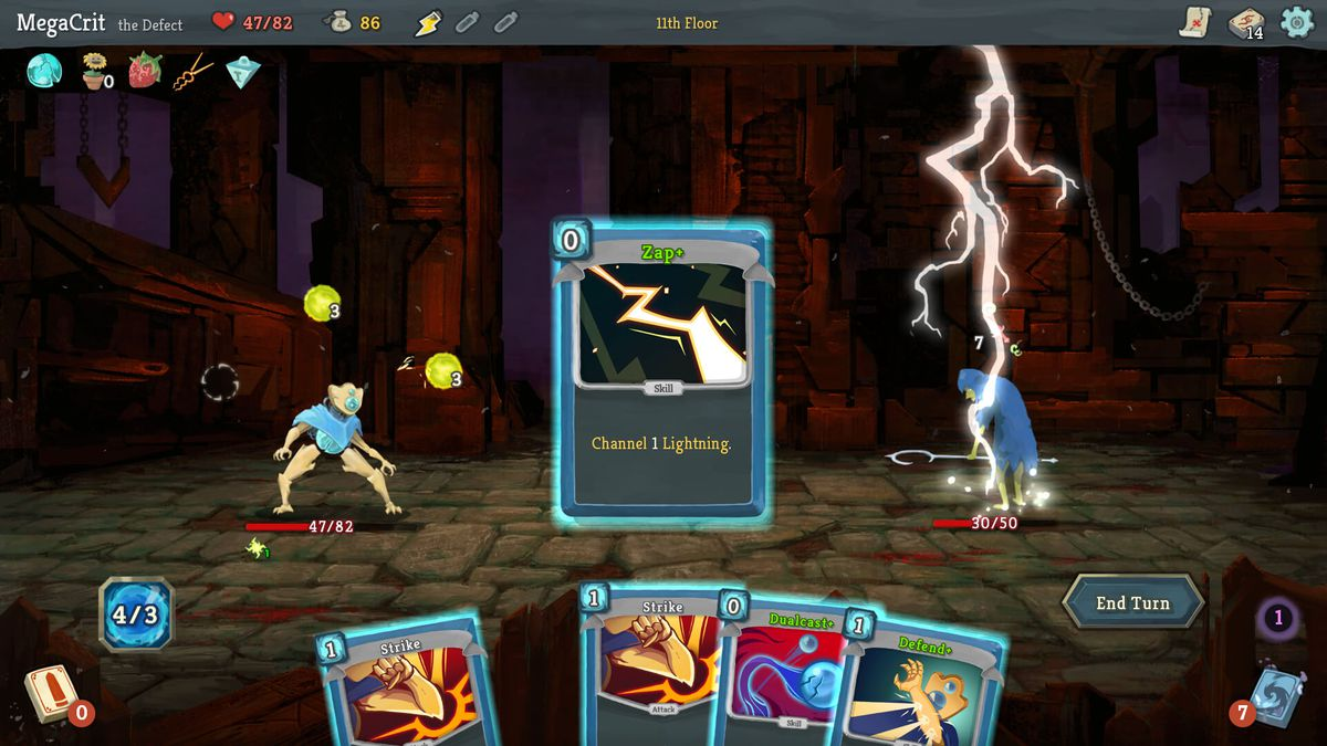 A card delivers a lightning attack in Slay the Spire