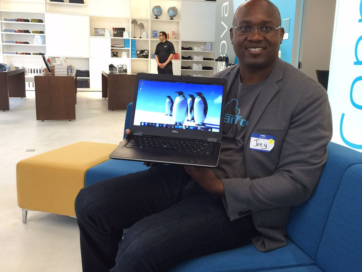 Joey Amanchukwu and his Linux-running laptop