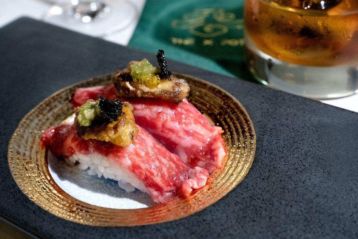 Wagyu sushi at The X Pot