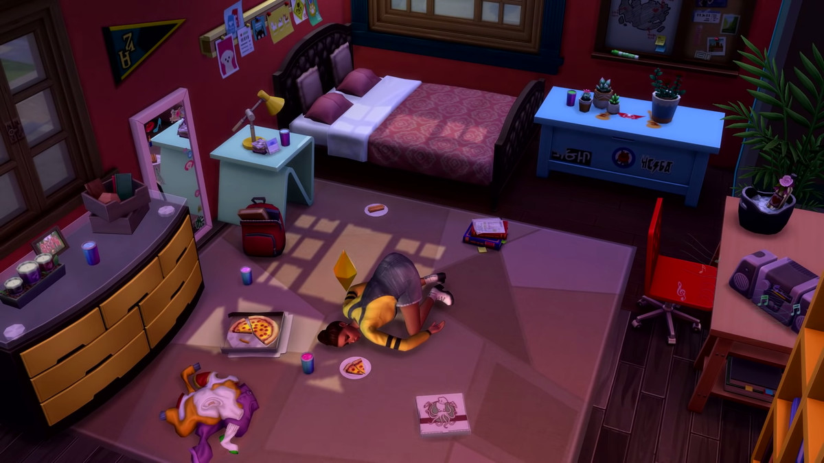 A Sim dozes on the floor of her dorm room after a night of partying