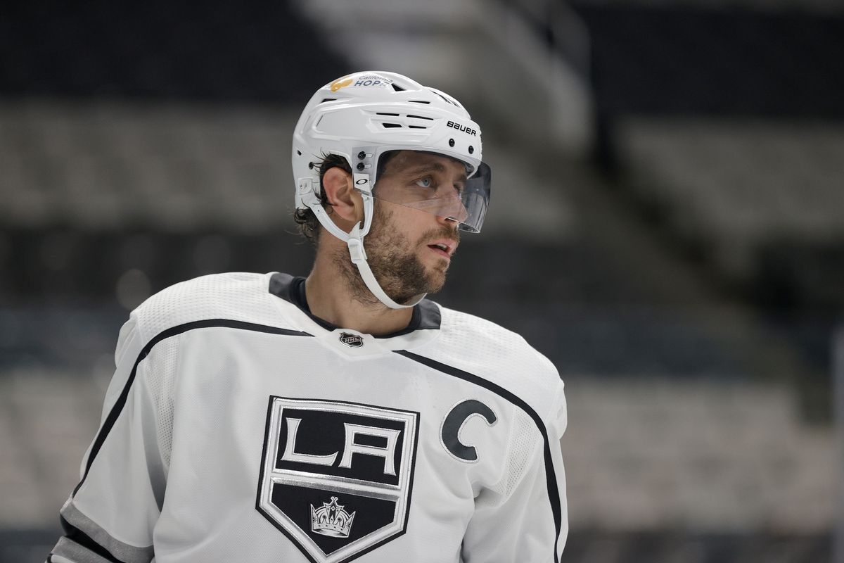 Anze Kopitar #11 of the Los Angeles Kings in action against the San Jose Sharks at SAP Center on March 22, 2021 in San Jose, California.