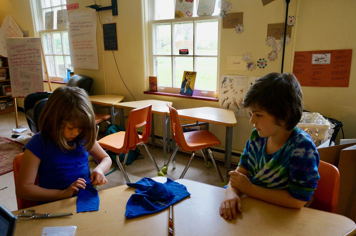 Students sewing during a class at the School for Community Learning, a progressive Indianapolis private school that depends on vouchers.