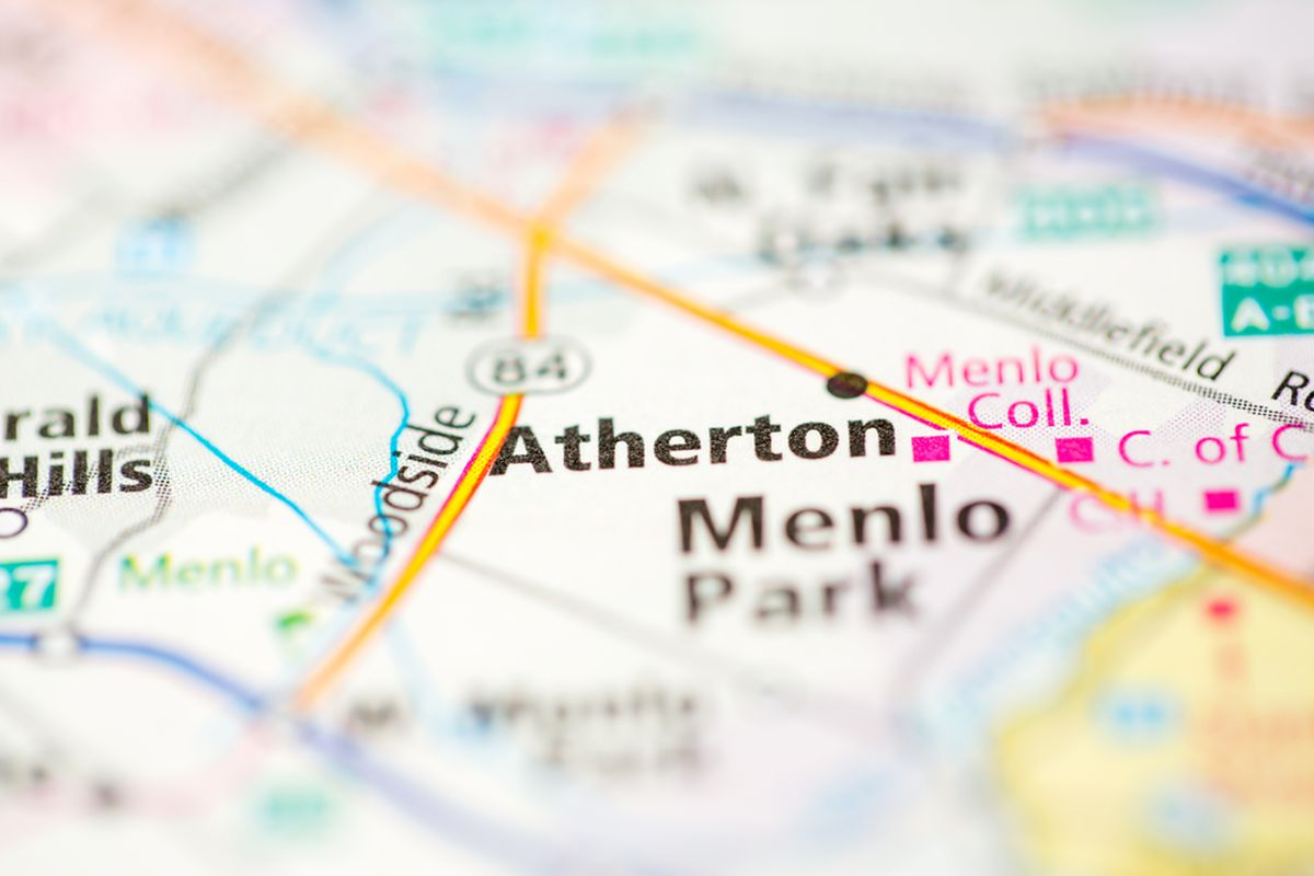 A map showing Atherton and surrounding cities.