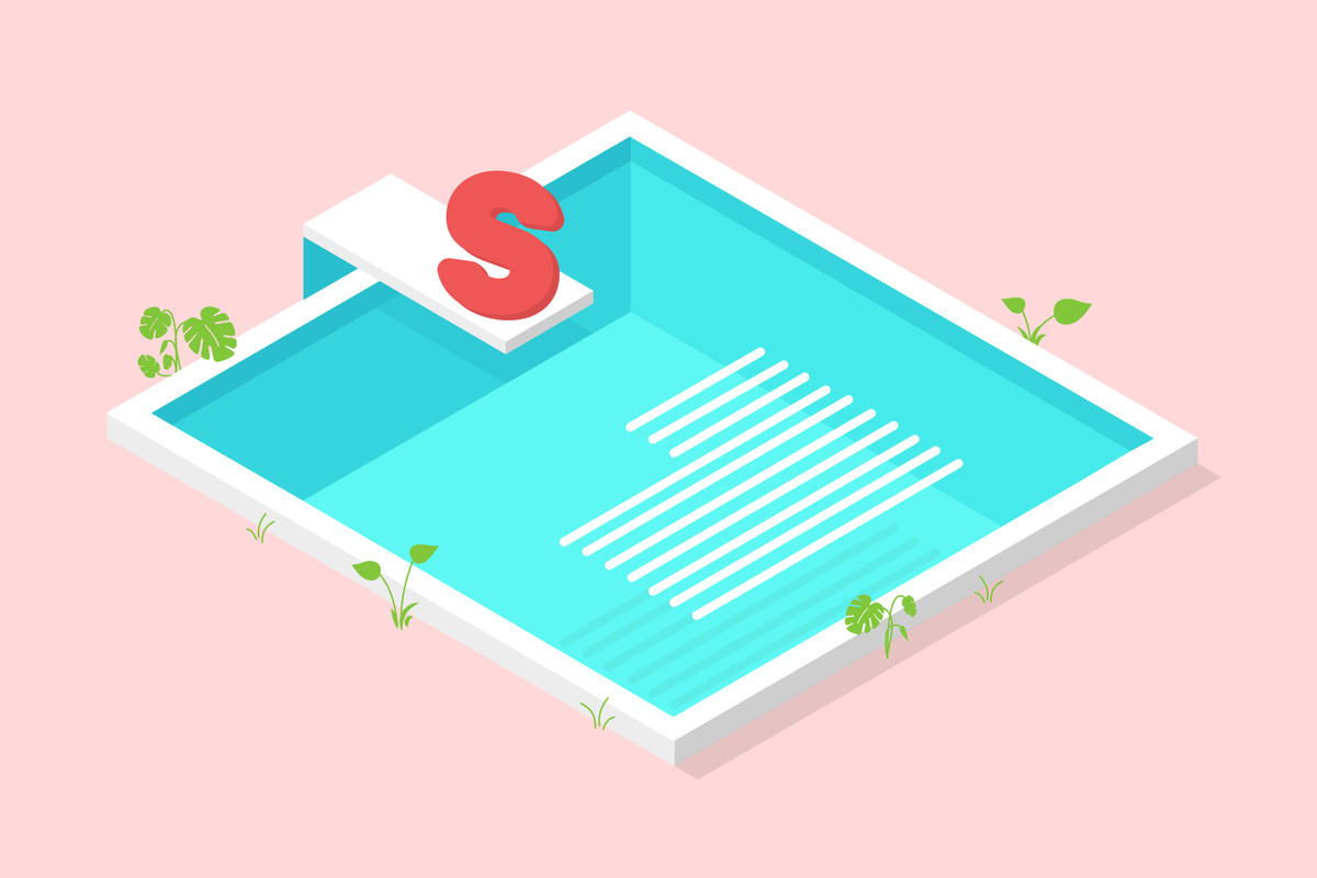 A letter S sits on the springboard of a swimming pool, waiting to join the lines of text that are already in the water