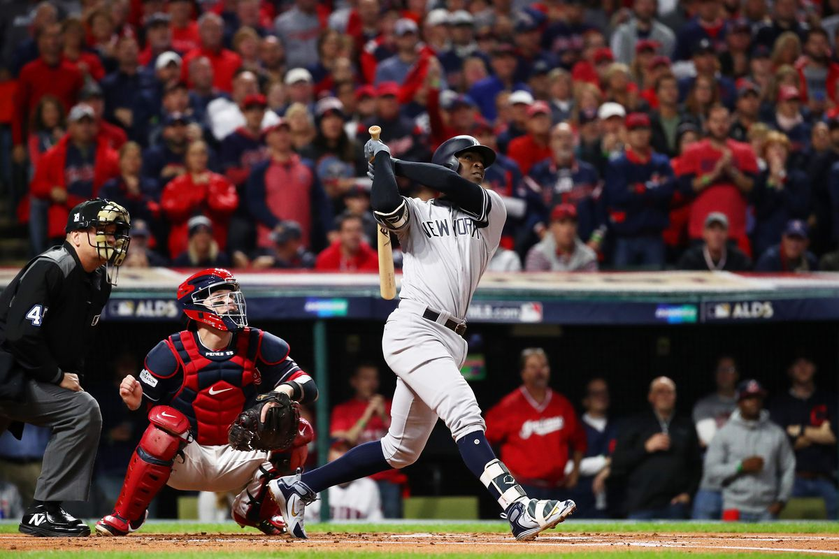 Didi Gregorius hits a solo home run in the first inning against the Cleveland Indians in Game Five of the ALDS at Progressive Field.
