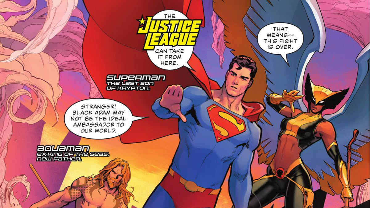 """""""The Justice League can take it from here,"""" Superman says as he, Hawkgirl, Aquaman, and Batman arrive on the scene in Justice League #59, DC Comics (2021)."""