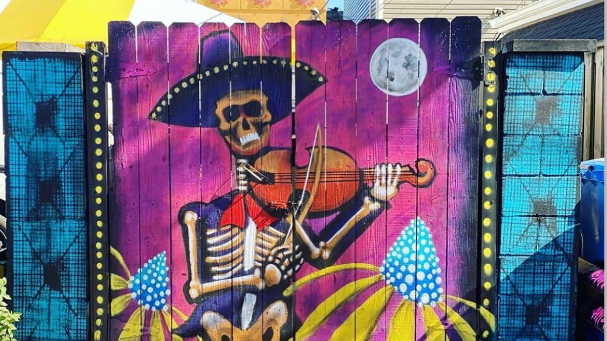 This painting at 5100 S. California Ave. is part of the Gage Park Mural Project. It draws on influences of traditional Mexican art and music, according to Mario Mena, who worked on it.