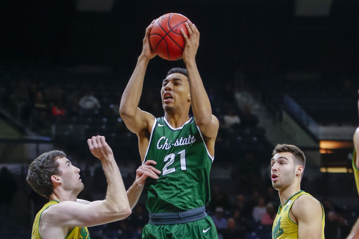 Cameron Bowles of Chicago State shoots the ball against Notre Dame