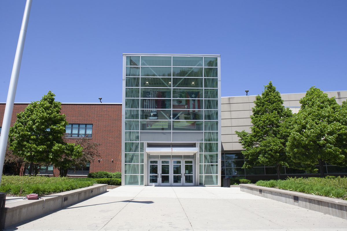 An exterior view of North-Grand High School in Chicago.