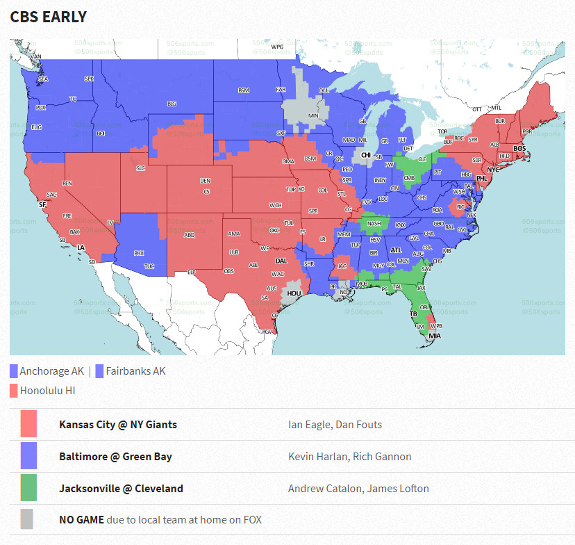 NFL Week 11 coverage map - Cincy Jungle Green Bay City Map on