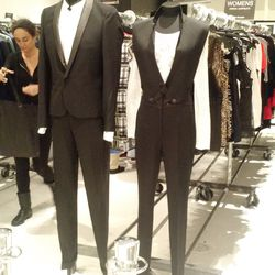 Mannequins displaying suit options