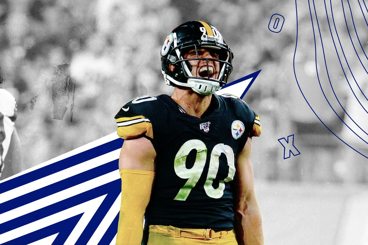 Steelers OLB TJ Watt yells excitedly, superimposed on a black-and-white background with X's and O's