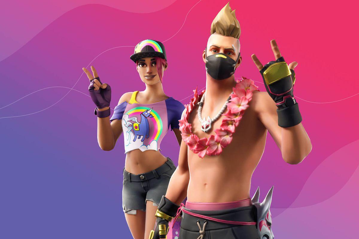 Two of Fortnite's summer skins posing