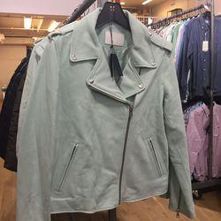 Mint leather moto jacket, $300