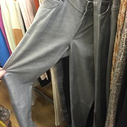 Sample gray leather pants, $99
