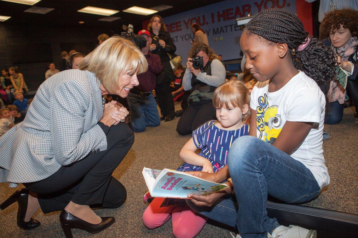 Education Secretary Betsy DeVos visiting Ashland Elementary School in April.