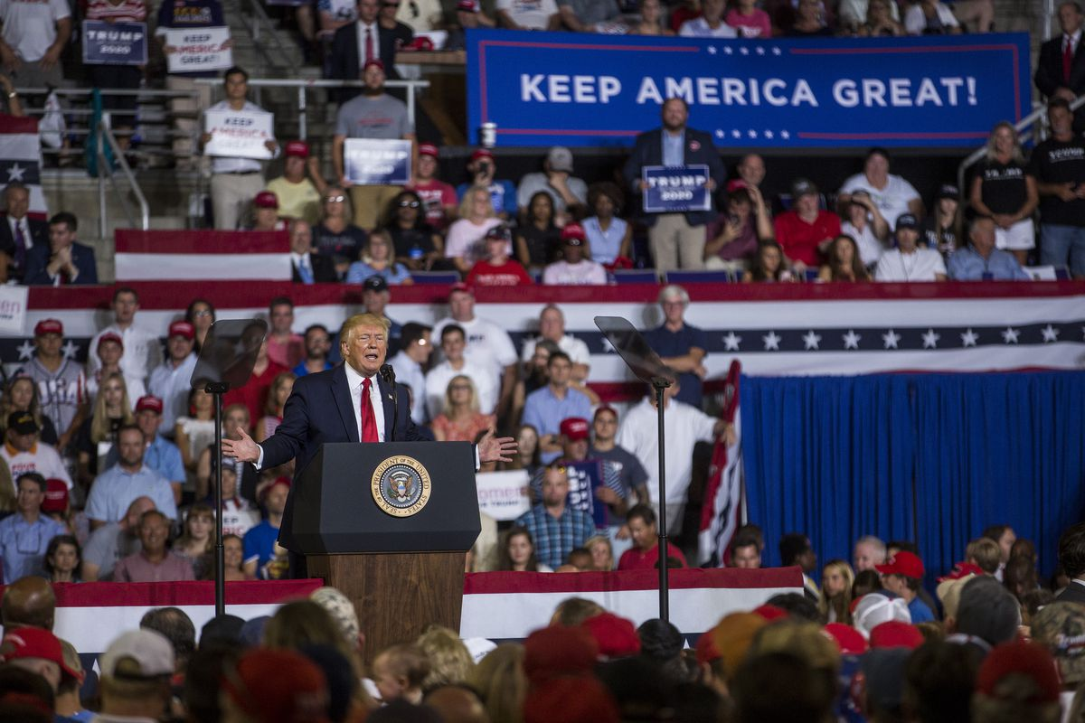 Donald Trump speaks at a campaign rally in Greenville, North Carolina on July 17, 2019.