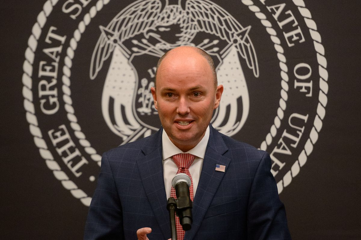 Gov. Spencer Cox speaks at a COVID-19 news briefing at the state Capitol in Salt Lake City on Thursday, Jan. 14, 2021.
