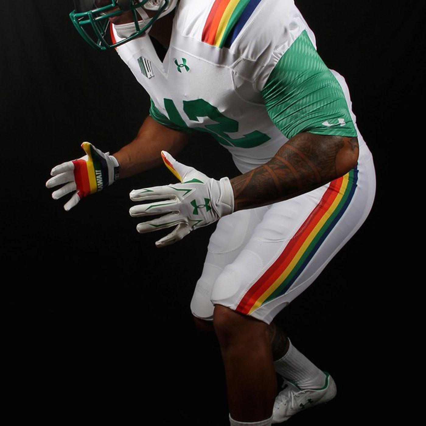 online retailer 5953e f1a44 Hawaii to wear amazing RAINBOW throwback uniforms vs. Ohio ...