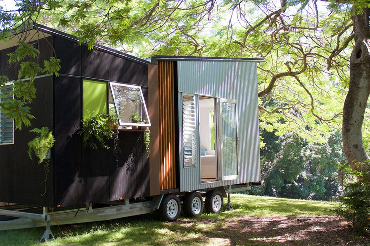 This tiny house sports a midcentury-inspired butterfly roof.