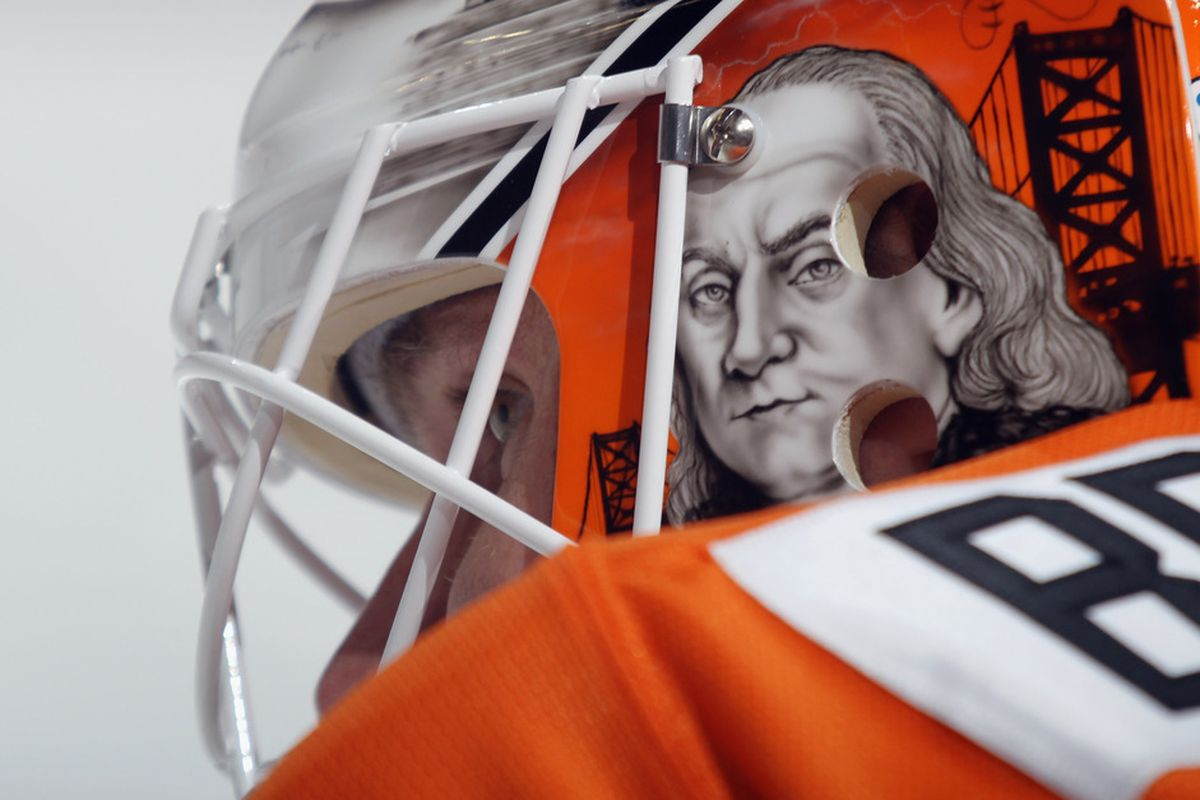 Bryzgalov ready to teach kids. (Photo by Bruce Bennett/Getty Images)