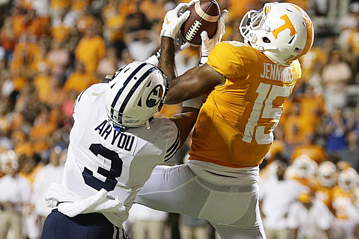 BYU linebacker Chaz Ah You makes a play on ball at Tennessee in Knoxville on Saturday, Sept. 7, 2019.