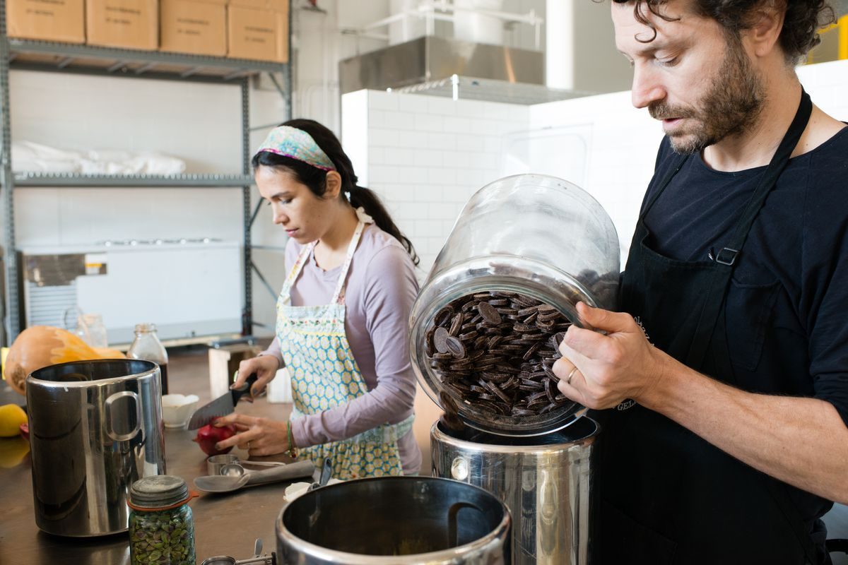 Dolcezza owners Violeta Edelman and Robb Duncan are seen processing ingredients for gelato