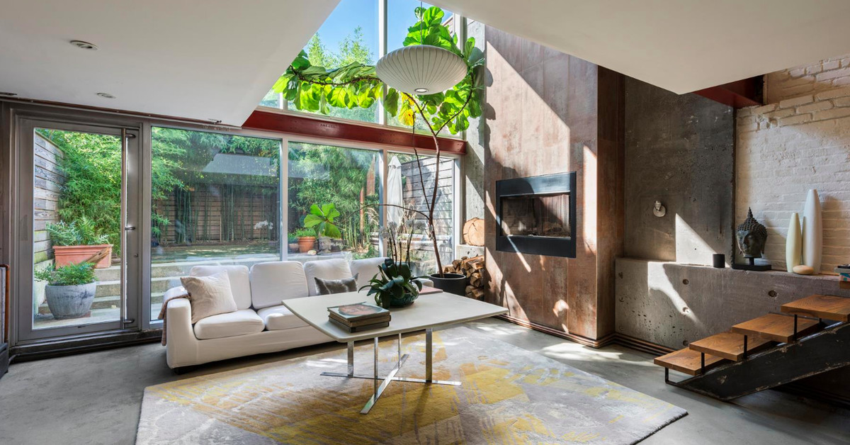 Townhouse Living Room Setup: Chic, Concrete-covered Red Hook Townhouse With Spacious