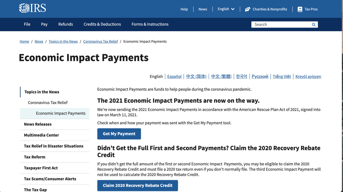 """The IRS """"Get My Payment"""" tool may help you find out where your stimulus payment is."""