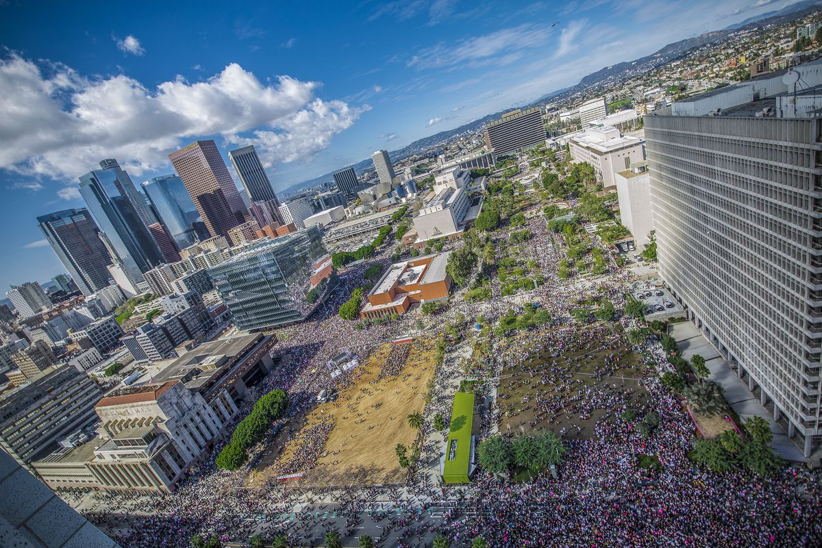 View of crowds across Downtown LA