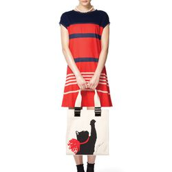 Look 12: Jersey Dress in Red/Navy Stripes, $34.99 Cat Tote in Cream, $39.99