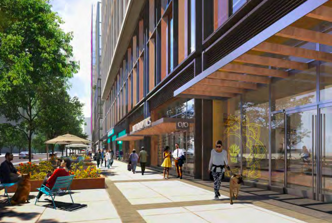 A rendering of ground-floor retail at a planned office building. There are sidewalks and seating out front.