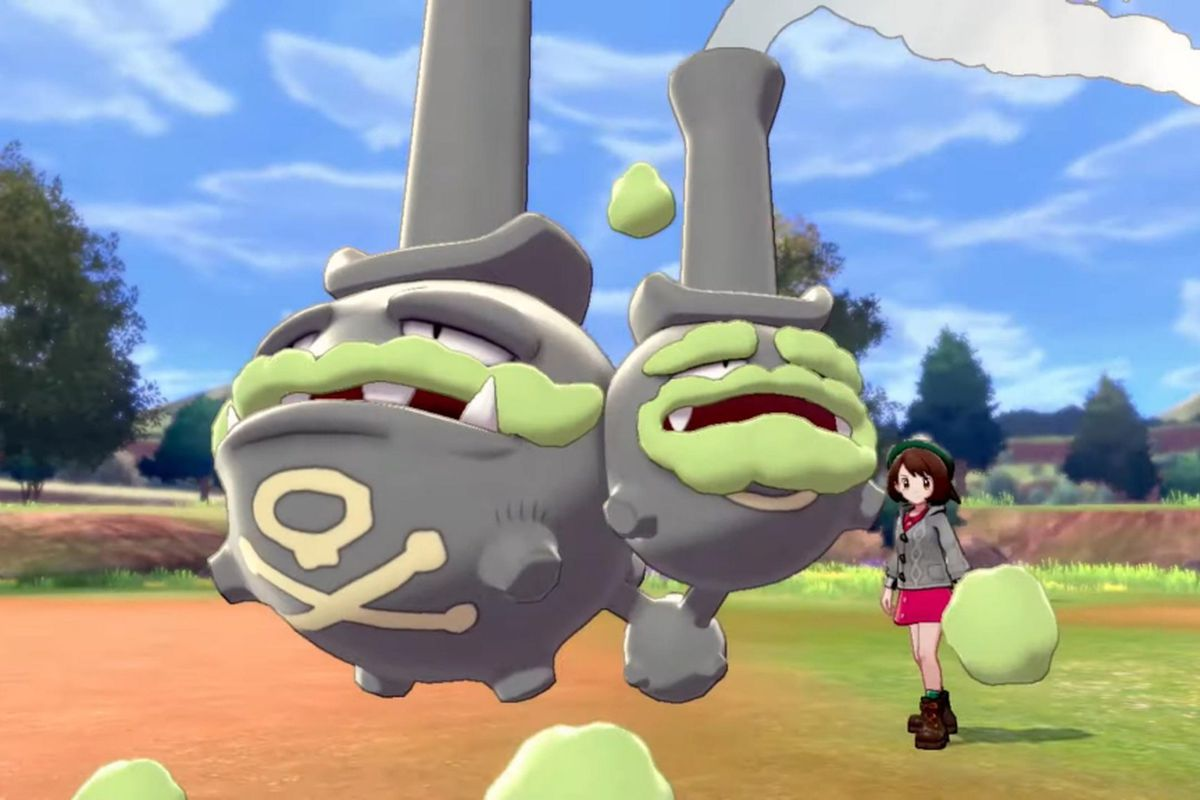Pokemon Sword and Shield - the new Galar form of Weezing. This Weezing is dark gray, has two beards made out of smog, and long top hats that make them look like a pair of bongs.