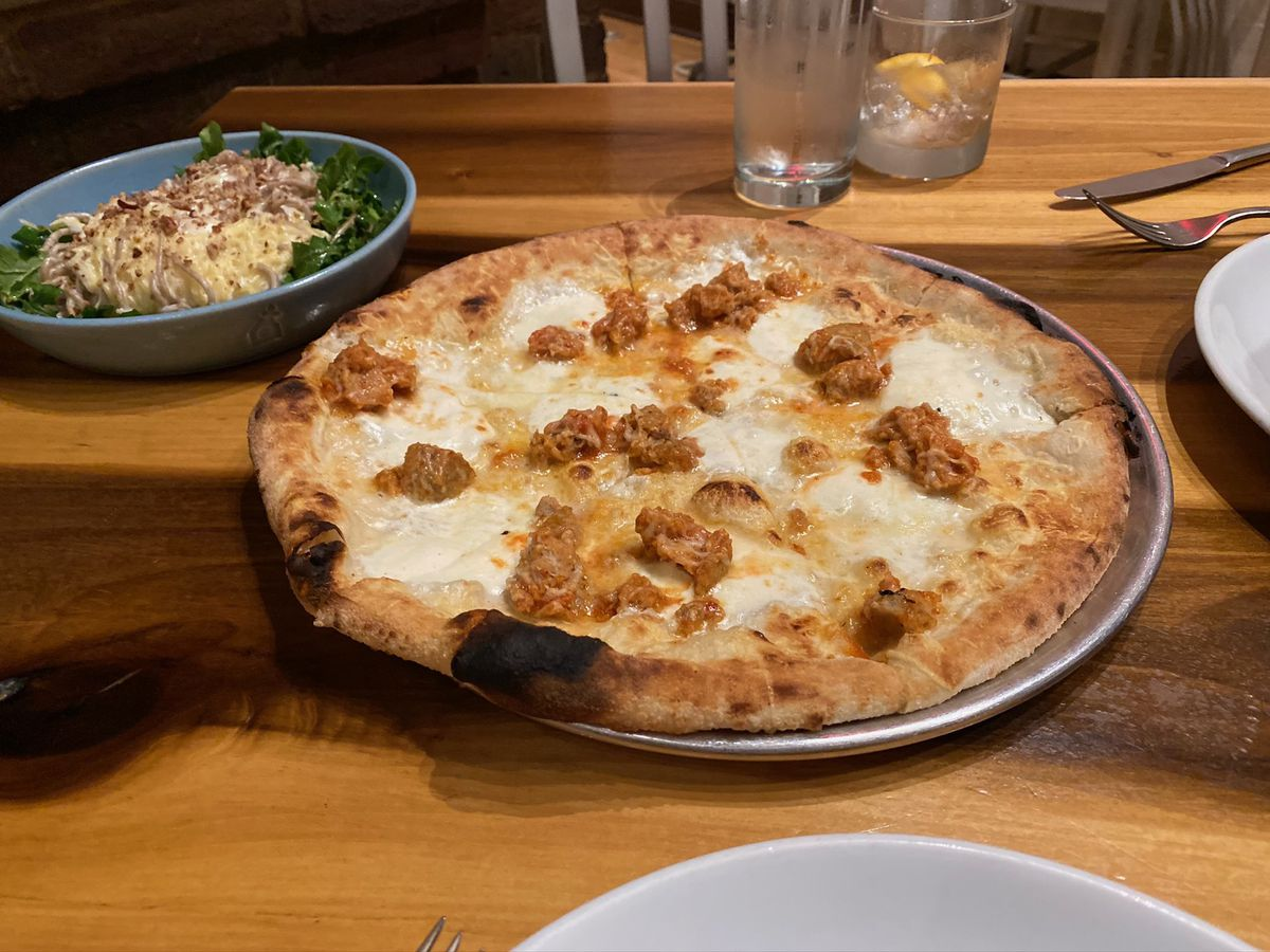 meatball pizza at city house in nashville