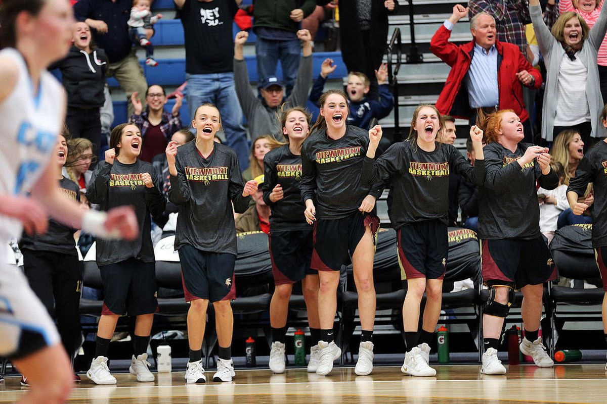 Viewmont faces Sky View during the girls 5A high school basketball state tournament in Taylorsville on Friday, Feb. 24, 2017.