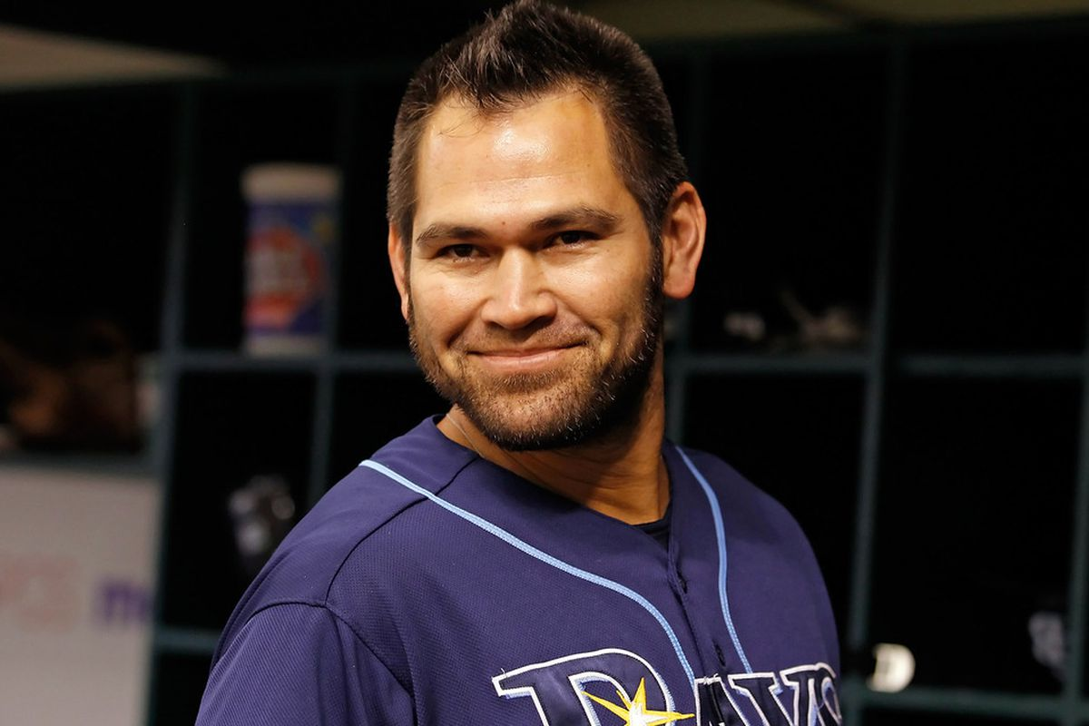 ST PETERSBURG, FL - JUNE 29:  Designated hitter Johnny Damon #22 of the Tampa Bay Rays smiles against the Cincinnati Reds during the game at Tropicana Field on June 29, 2011 in St. Petersburg, Florida.  (Photo by J. Meric/Getty Images)
