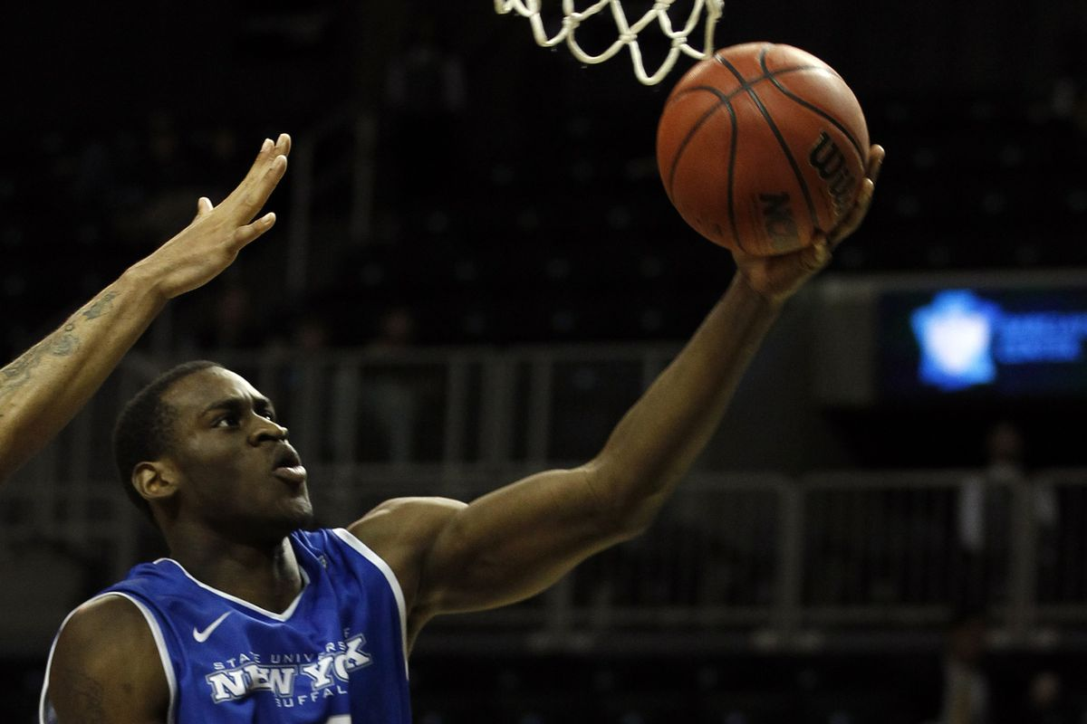 As you can see Javon McCrea's tentacles allow him to beat opponents' outstretched arms to the basket.