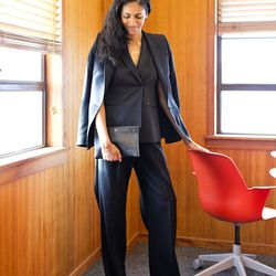 <b>Marisa Lucia Smith</b>, Marketing Coordinator, wearing a Maison Martin Margiela blazer and trousers (both from TRR), Theory vest, Carven for Robert Clergerie platform pumps and Céline Trio bag.<br><br> <b>What have you learned at the Real Real that yo