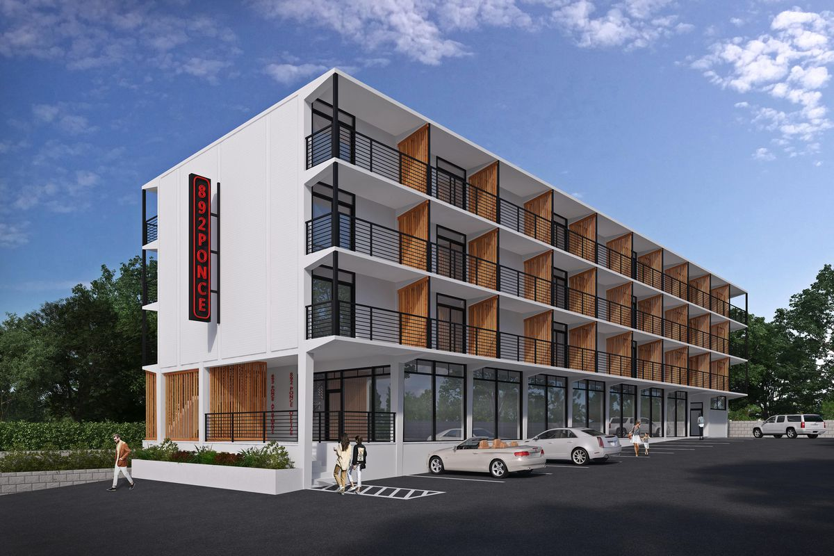 A rendering of the apartment complex, updated with white paint and orange wood separating each balcony.