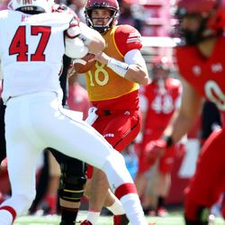 Utah's Cooper Bateman looks to pass during the annual Red & White Spring Game at Rice-Eccles Stadium in Salt Lake City on Saturday, April 15, 2017.