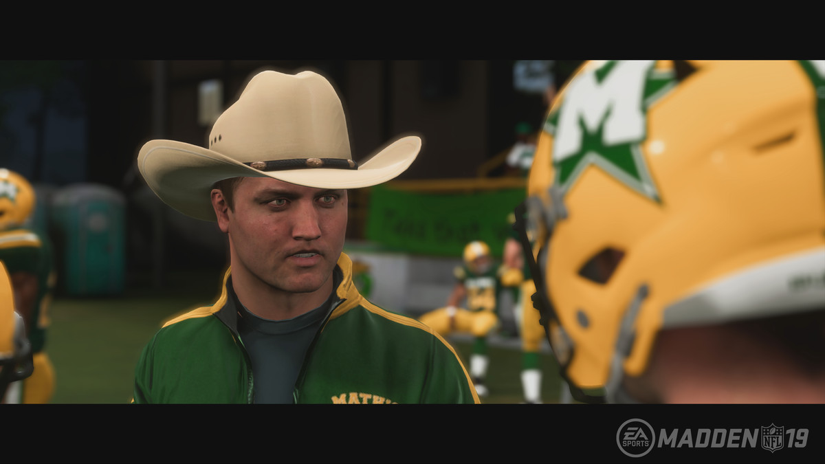 Madden NFL 19 Longshot - Colt Cruise in cowboy hat on the sidelines